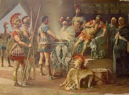 «Romanus sum» inquit, «civis; C. Mucium vocant. Hostis hostem occidere volui, nec ad mortem minus animi est, quam fuit ad caedem; et facere et pati fortia Romanumest.